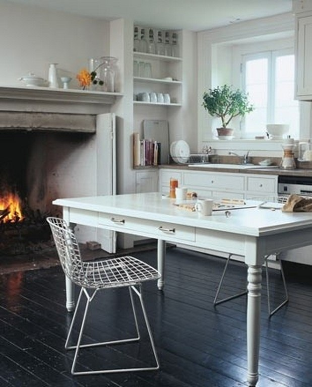 8 Cozy Kitchen Fireplaces via The District Table
