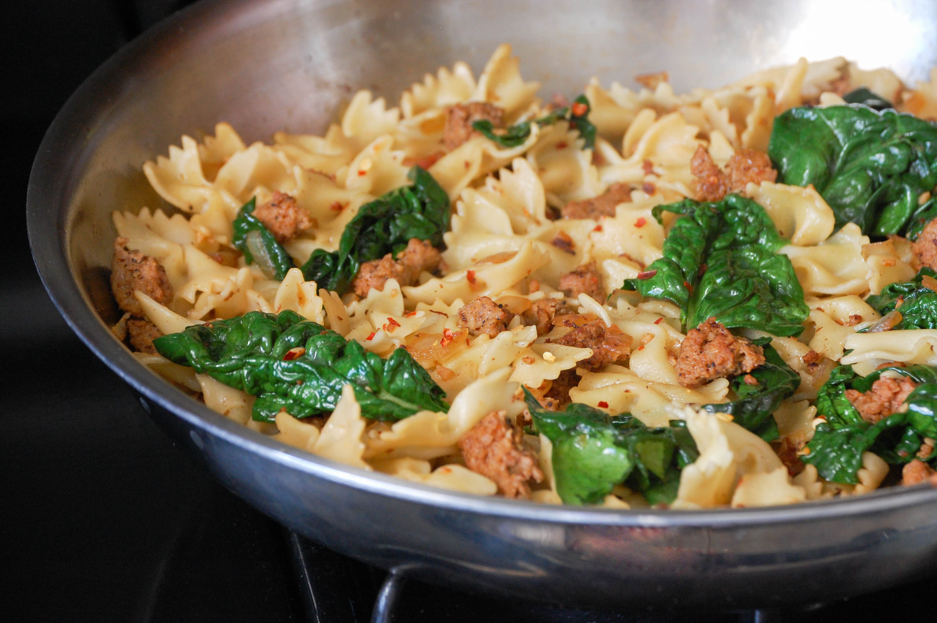 Spicy Pasta with Sausage and Spinach via The District Table