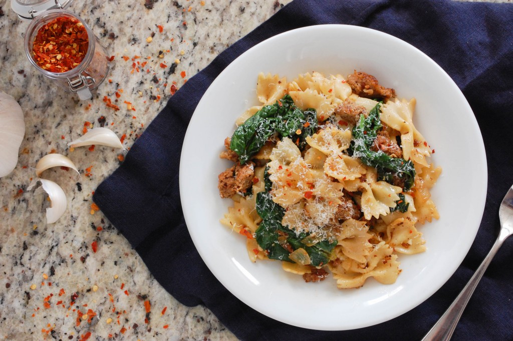 Spicy Pasta with Sausage and Spinach