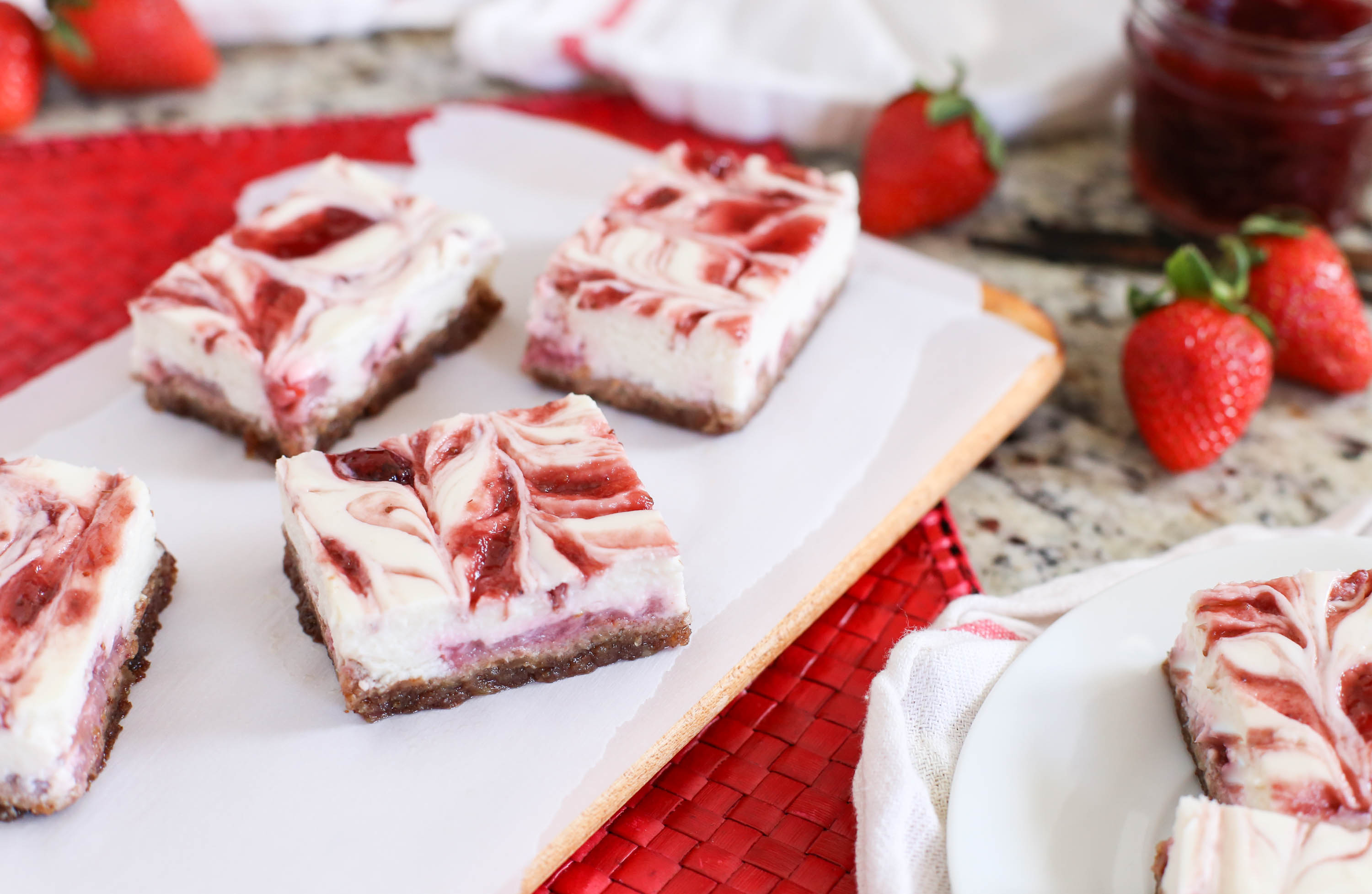 Skinny Strawberry Cheesecake Bars by The District Table