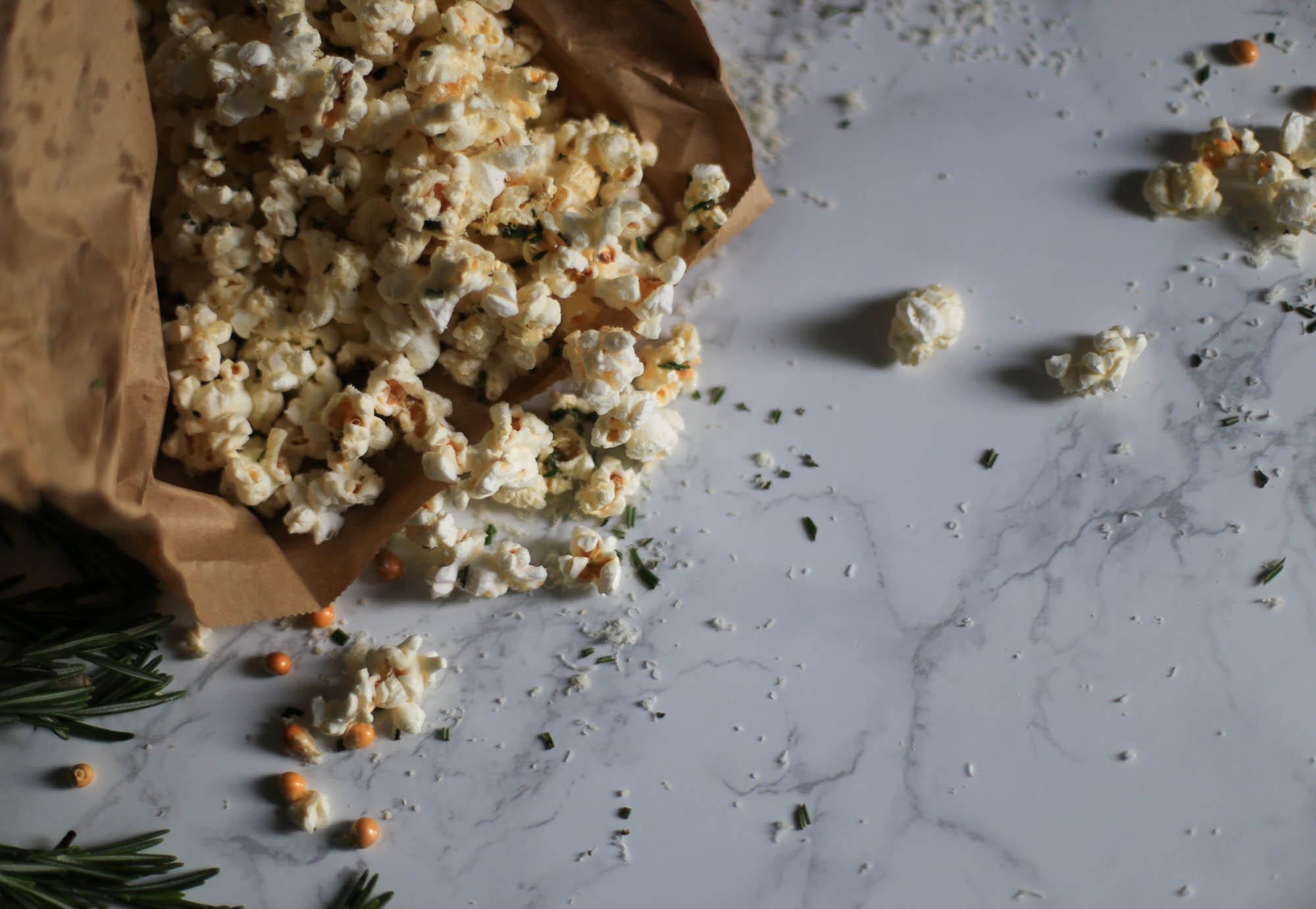 Rosemary Parmesan Popcorn by The District Table