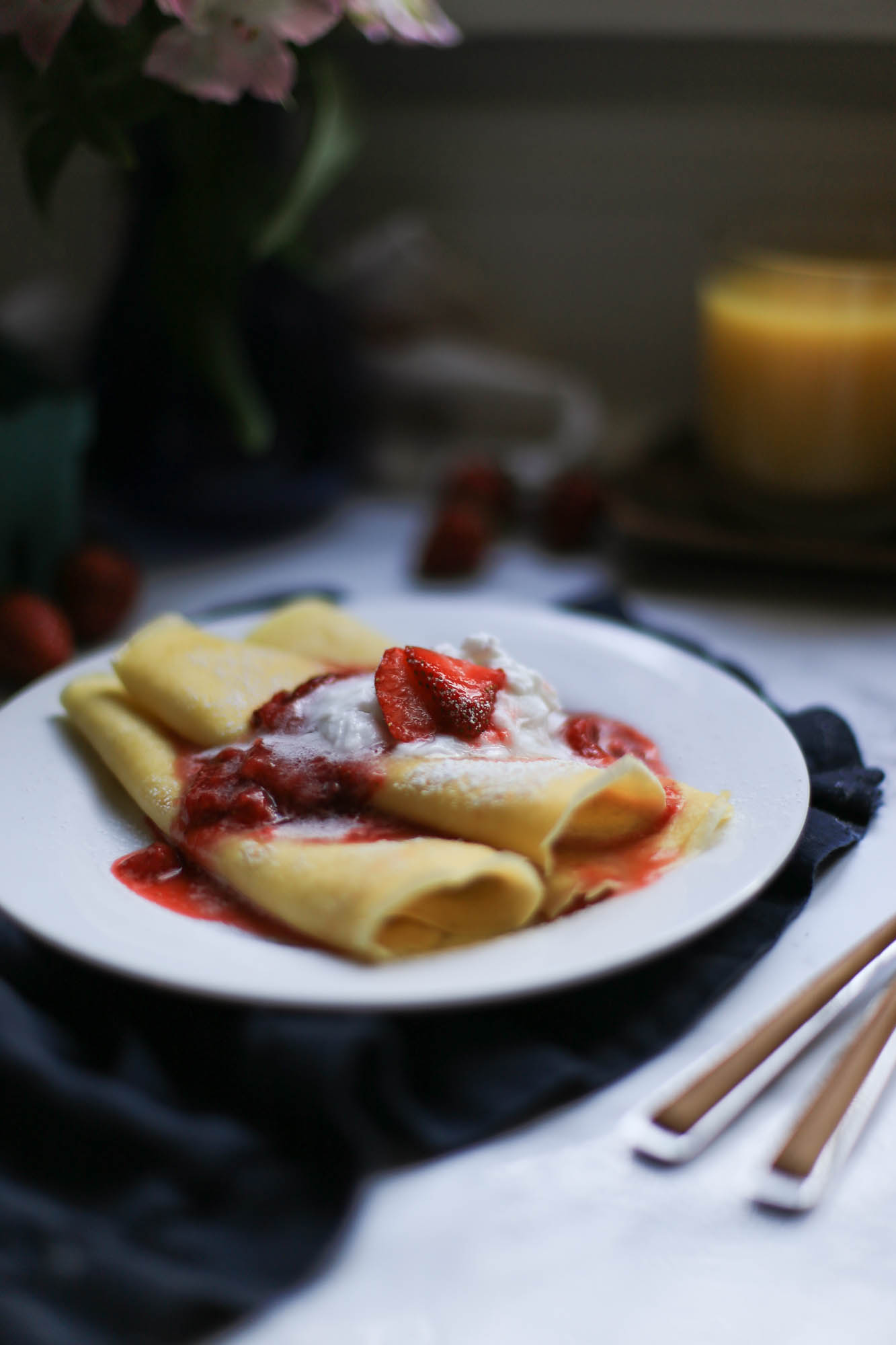 Crepes with Strawberries and Cream by The District Table